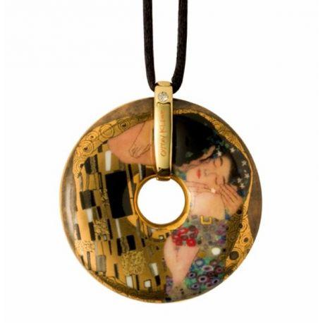 Pendentif reproduction d art en porcelaine Le Baiser Klimt