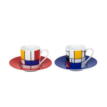 Hommage to Mondrian - Duo de tasses espresso