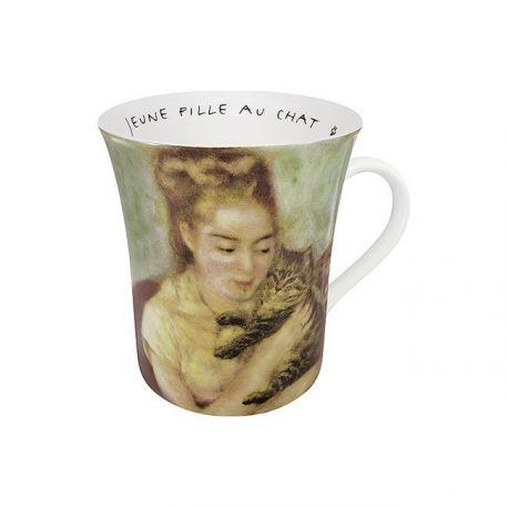 Jeune fille au chat Renoir - Mug évasé en porcelaine avec anse - Konitz