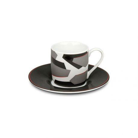 Sharp - Set 6 tasses espresso et sous-tasses texturées