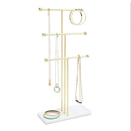 Trigem - Porte bijoux design laiton et blanc