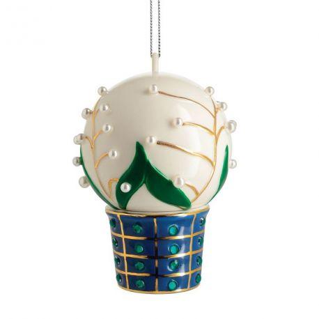 Faberjori Alessi, boule de Noël Mughetti e smeraldi, porcelaine