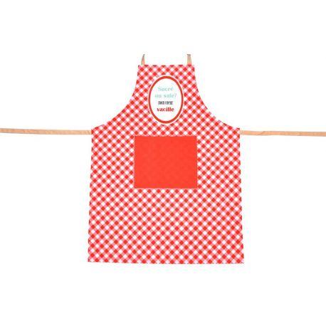 Tablier de cuisine Vichy rouge en coton,