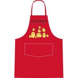 J ai la patate - Tablier de cuisine rouge 100% coton - Alma Mater