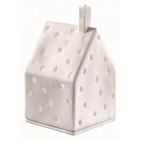 Maison décor étoiles photophore en porcelaine blanche