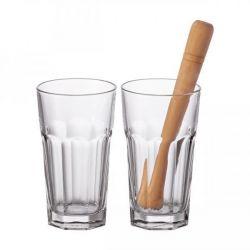 Rock - Coffret 2 verres à mojito + pilon - Leonardo