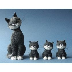 Chat Dubout L alignement, set 4 figurines en résine Parastone