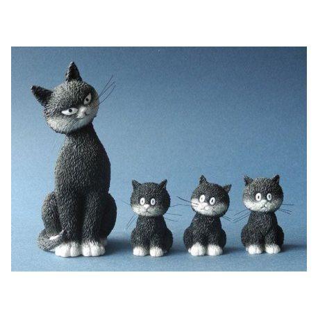Chat Dubout L alignement, set 4 figurines en résine