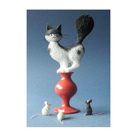 Chat Dubout - Plan de fuite, figurine résine 17 cm