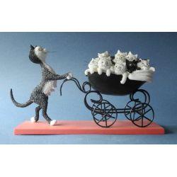 Chat Dubout - Le landau , figurine 24 cm résine - Parastone