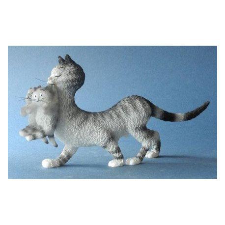 Chat Dubout - Maman et ses petits, figurine 9x18 cm - Parastone