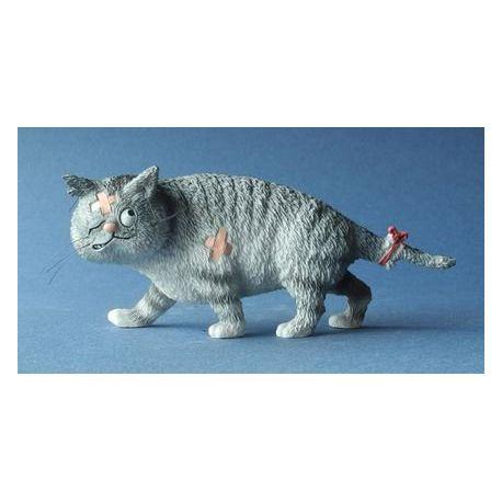 Chat Dubout - Gros matou gris figurine en résine