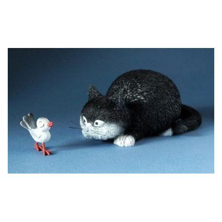 Chat Dubout - Attrape moi, figurine en résine 10x4cm