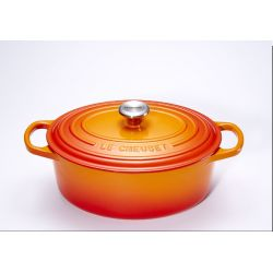 Signature Cocotte Ovale Volcanique Orange en fonte Le Creuset
