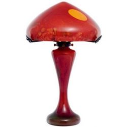 Lampe Soleil rouge La Rochère cristallerie verre soufflée bouche
