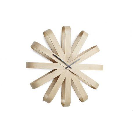 Ribbonwood, horloge murale en bois clair naturel 51 cm Umbra