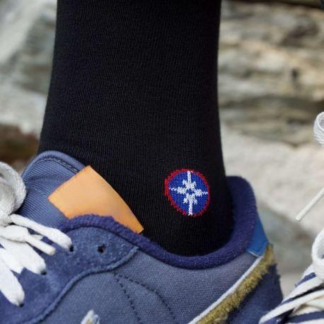 Chaussettes unies noir avec logo Le Vent à la Française