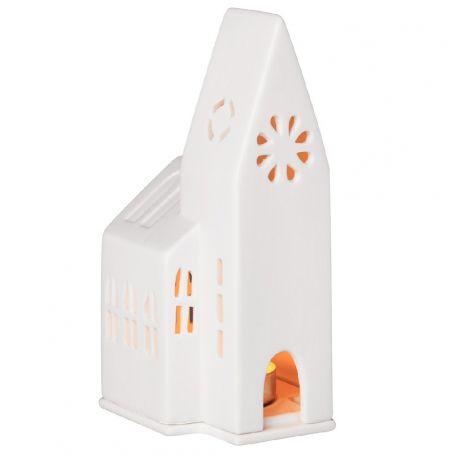 räder Petite église photophore en porcelaine blanche