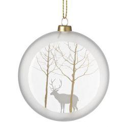 Räder Boule de Noël en verre satiné, motif Renne, 10 cm