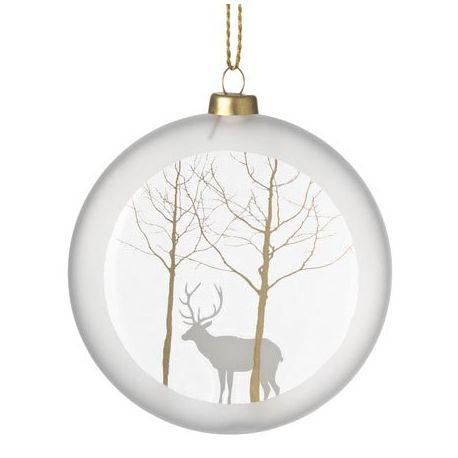 Boule de Noël en verre satiné, motif Renne, 10 cm