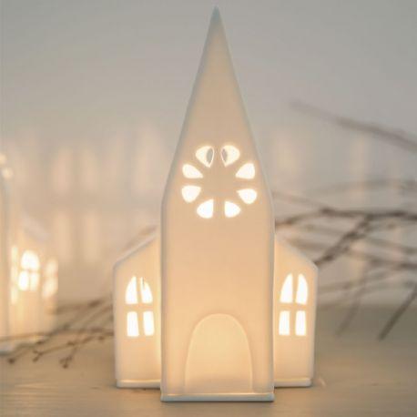 Räder Grande église photophore en porcelaine blanche