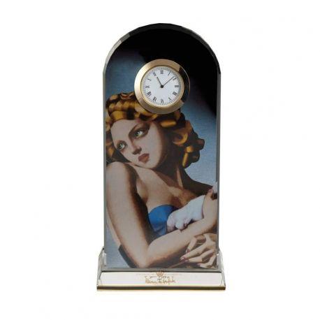 Woman with dove, Pendule à poser d après Tamara de Lempicka