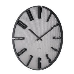 Sentient noir, horloge murale 40 cm fond acier alvéolé Karlsson