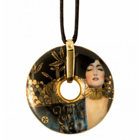 Pendentif reproduction d art en porcelaine Klimt Judith