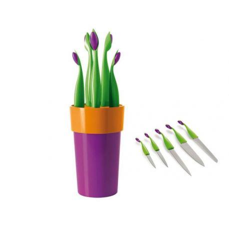 Fiorino violet - Emy Bloc 5 couteaux couleur