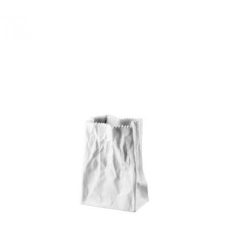 Do not litter Tutenvase Vase sac Porcelaine Blanc 14 cm
