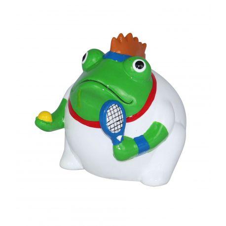 Frogmania tennis Pomme Pidou, tirelire grenouille tennisman