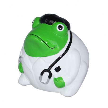 Frogmania Doctor Freddy Pomme Pidou, tirelire grenouille docteur