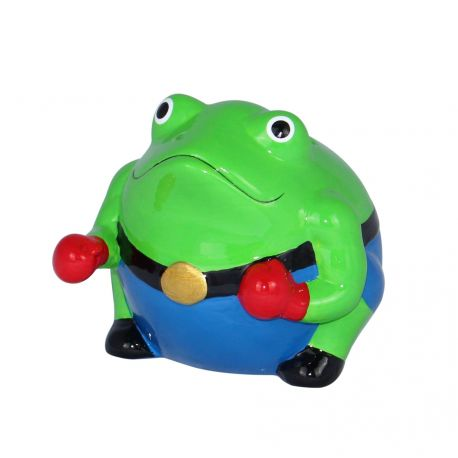 Frogmania boxing Pomme Pidou, tirelire grenouille boxeur