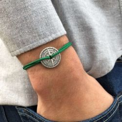 L Alpache bracelet vert boussole bronze Le Vent à la Française
