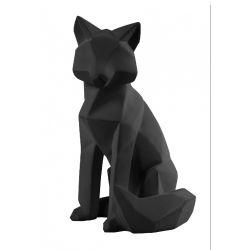 Origami Fox Present time, Statue Renard façon origami noire mate
