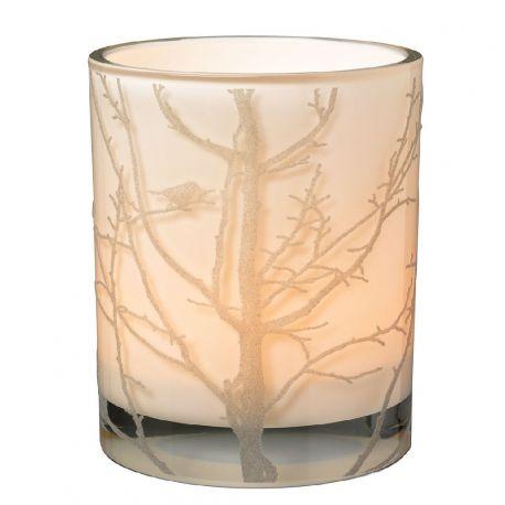 Räder Photophore décor Oiseau & branches en verre et feutre gris