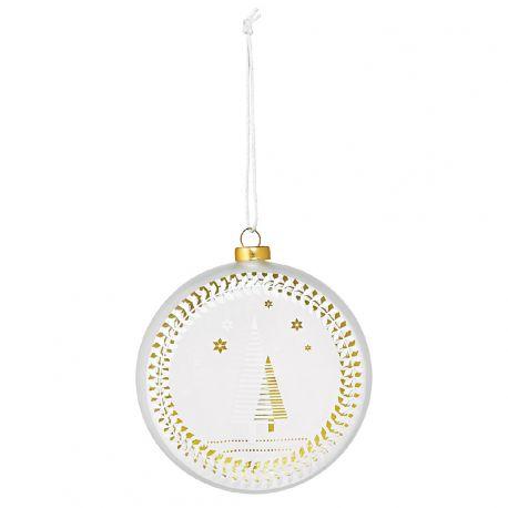 Räder Boule de Noël en verre satiné, motif Sapin 10 cm