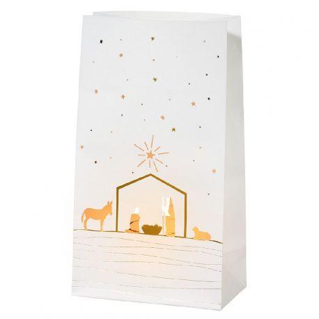 Photophore décor Crèche de Noël, en sac papier. Set de 2