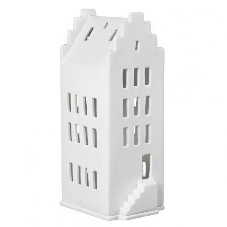 Maison haute toiture à pignon photophore en porcelaine