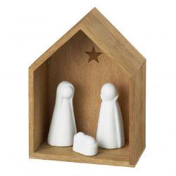 Räder Nativity Petite crèche en bois naturel et Porcelaine