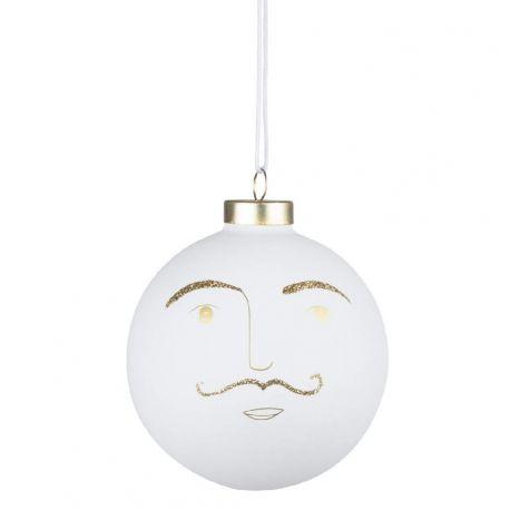 Räder Boule de Noël Hartmut 10 cm, Visage d homme à moustache
