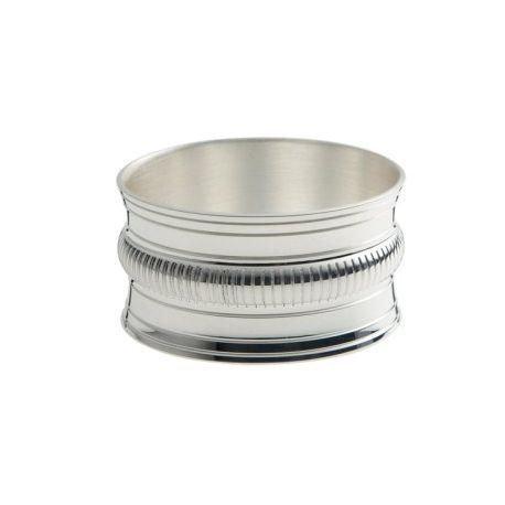 Godrons - Rond de serviette Ercuis - en métal argenté pour baptême