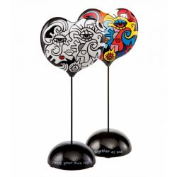Two in one Toghether Sculpture coeur porcelaine sur pied 29cm
