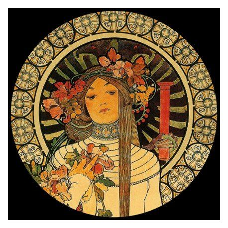 La Trappistine d Alphonse Mucha - Presse-papier en verre 8cm