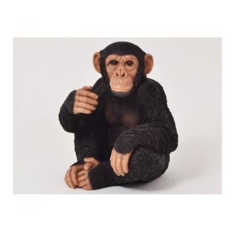 Faune Drimmer, Sculpture Chimpanzé assis réaliste, h 37 cm