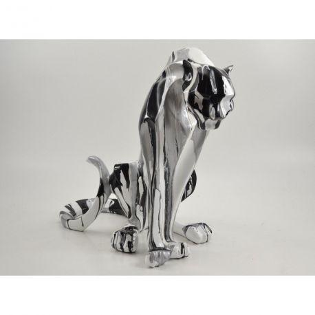 Emotion Trash Drimmer, Sculpture panthère design grise, h 40cm