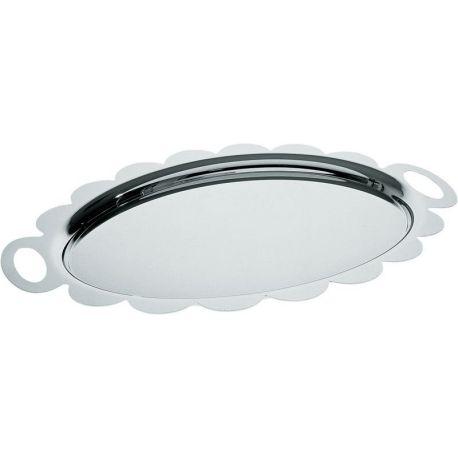 Recinto plateau ovale festonné Alessi inox design A. Mendini