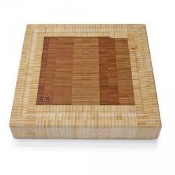 Billot de cuisine bambou bicolore carré avec rigole 30x30x5 cm