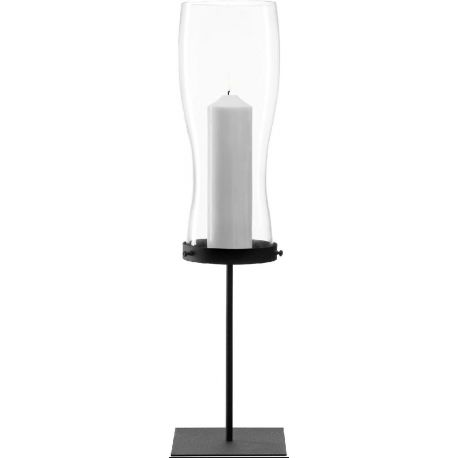 Giardino , Photophore sur socle en acier laqué noir 78cm