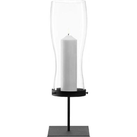 Giardino, Photophore sur socle en acier laqué noir 63cm